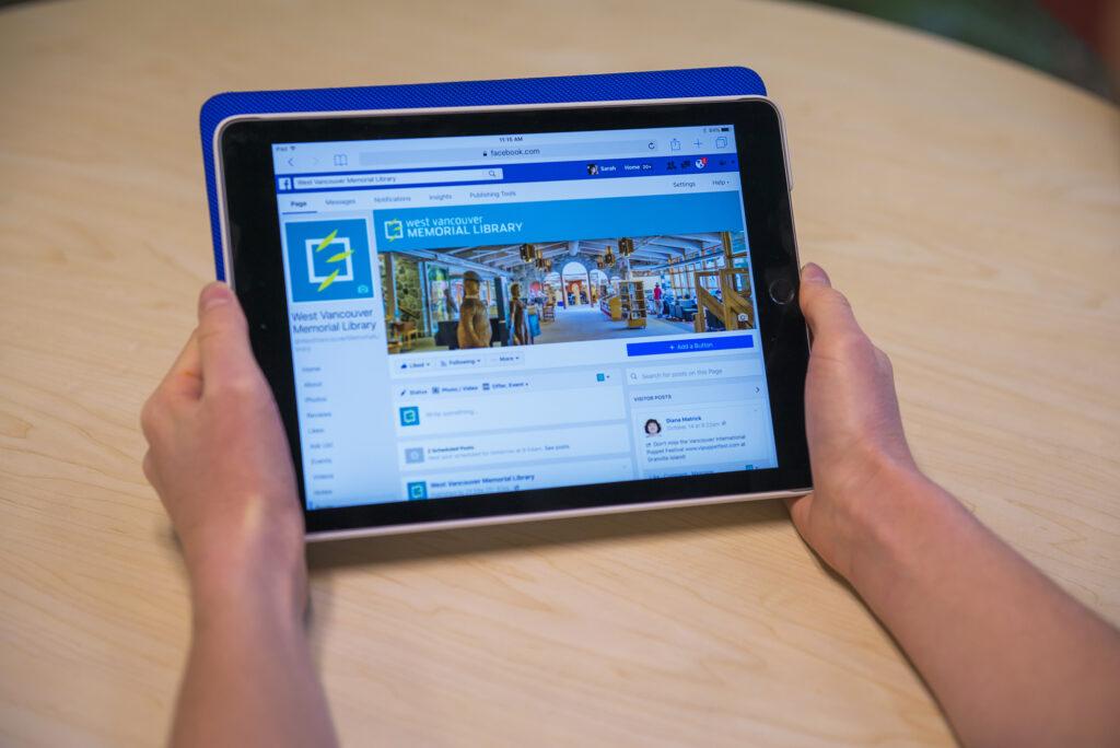 a patron using an iPad