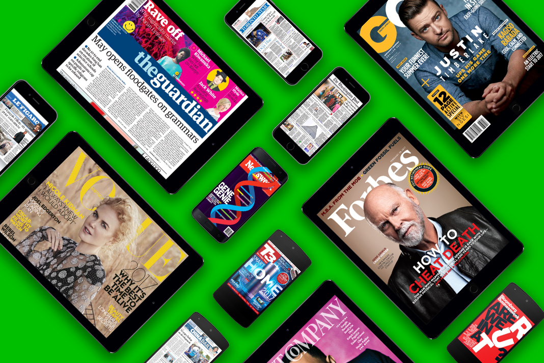 a variety of mobile devices displaying online magazines