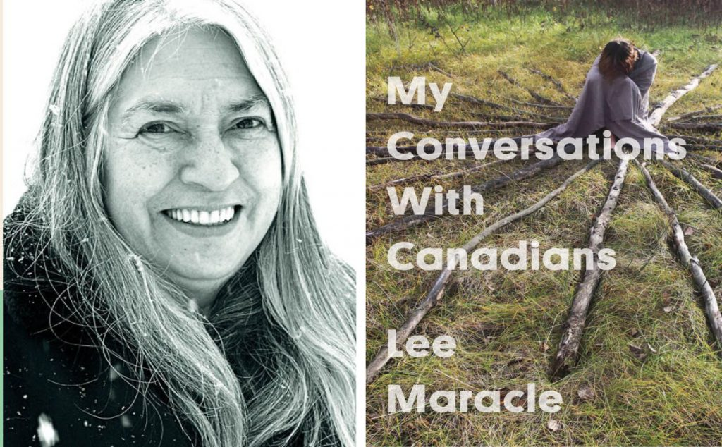 a black and white headshot of author Lee Maracle smiling, next to the cover of her book My Conversations with Canadians