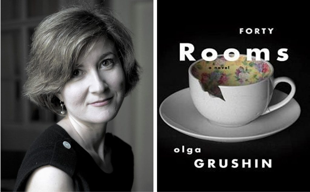 author Olga Grushin and book cover for Forty Rooms