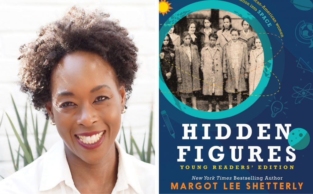 author Margo Lee Shetterly and book cover for Hidden Figures