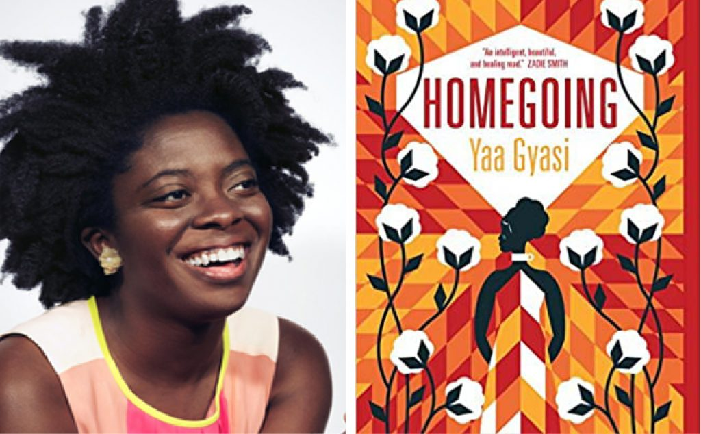 Author Yaa Gyasi and the book cover for Homegoing