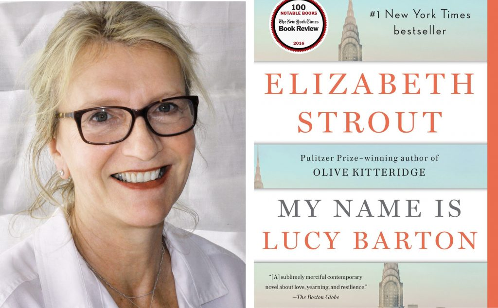 author Elizabeth Strout and book cover for My Name is Lucy Barton