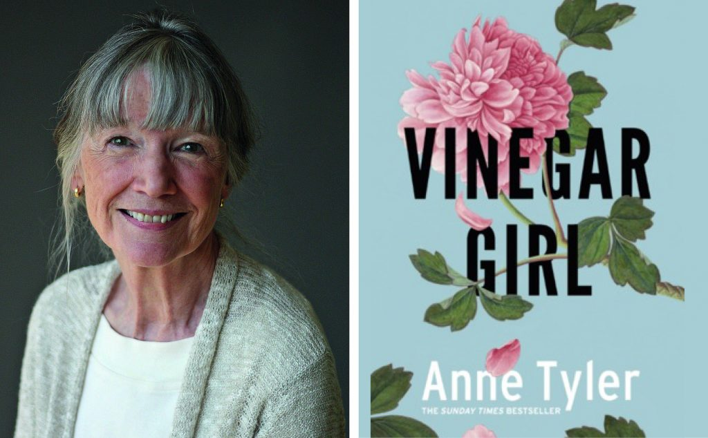 author Anne Tyler and book cover for Vinegar Girl