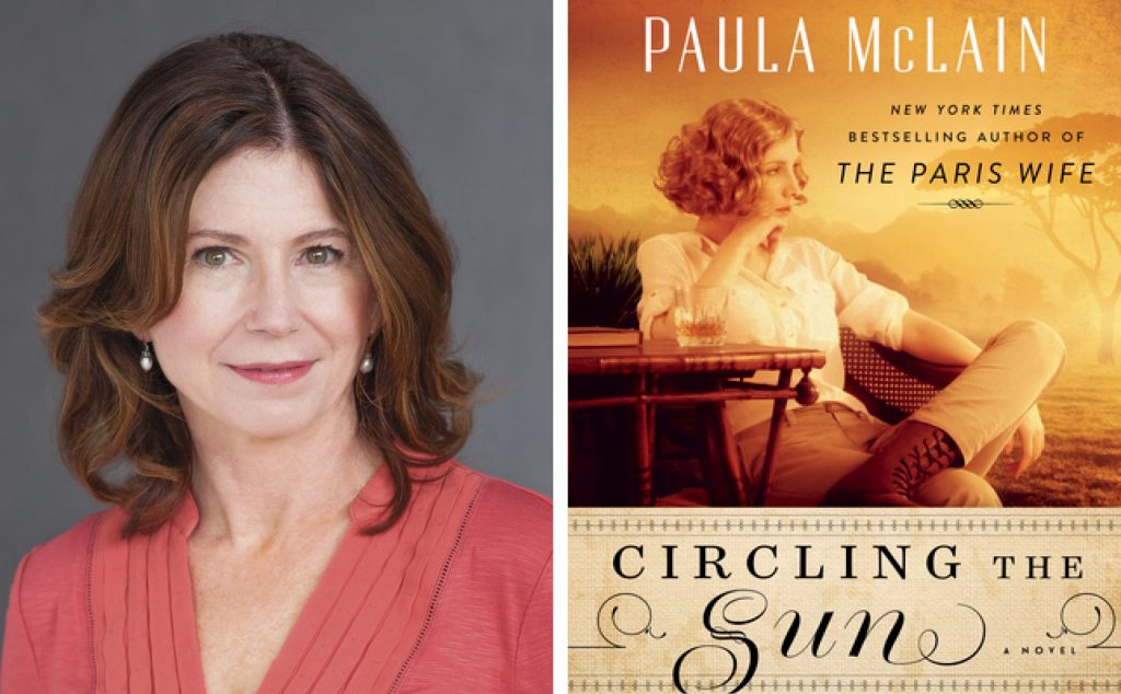 author Paula McLain and the cover for Circling the Sun