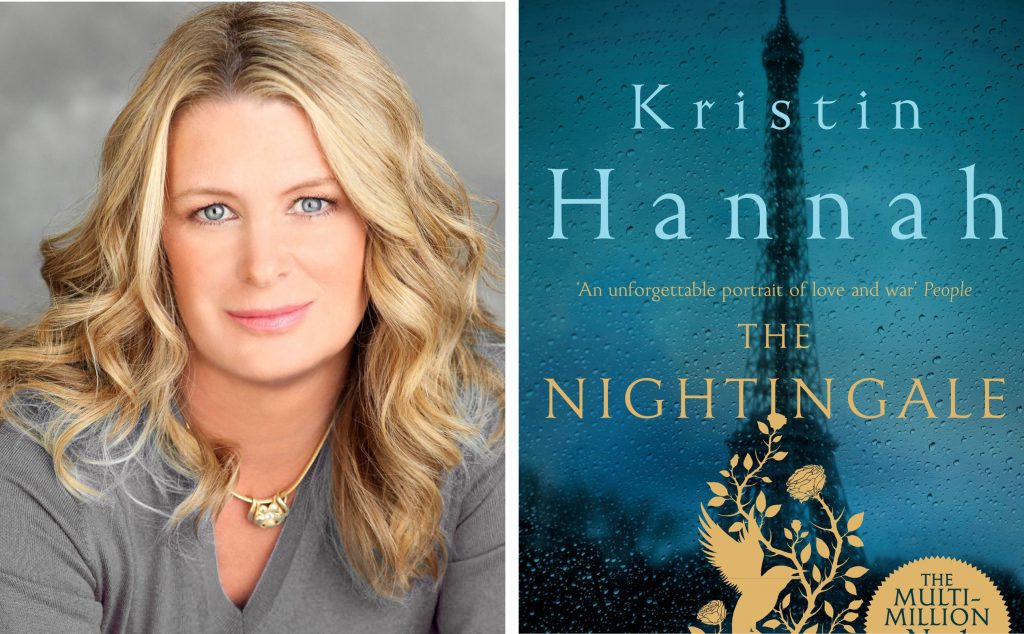 author Kristin Hannah and book cover for The Nightingale