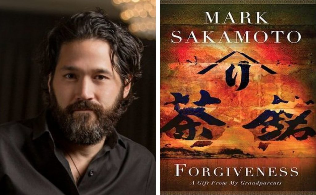 author Mark Sakamoto and the book cover for Forgiveness