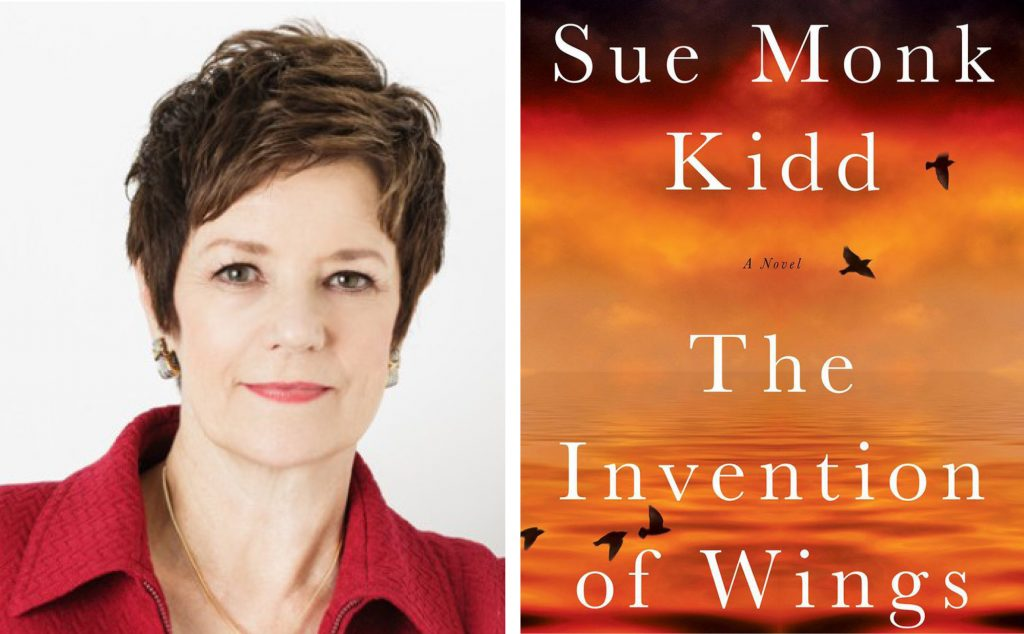 author Sue Monk Kidd and the book cover for The Invention of Wings