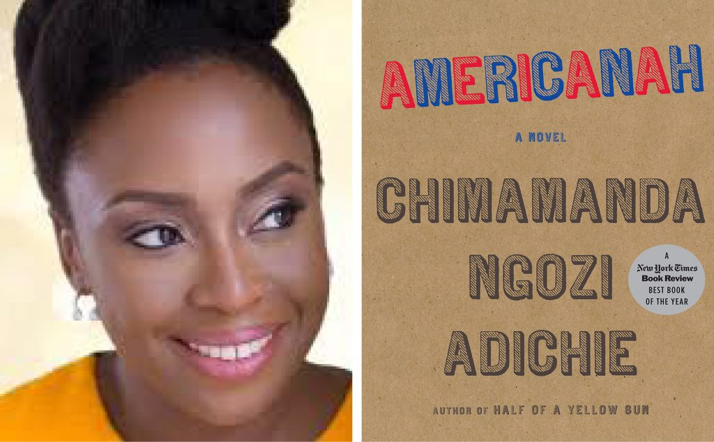 author Chimamanda Ngozi Adichie and the book cover for Americanah