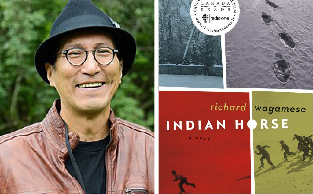 author Richard Wagamese and book cover for Indian Horse