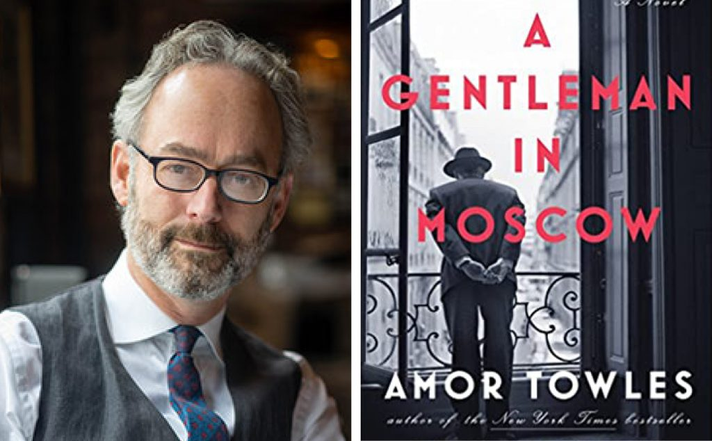 Author Amor Towles and book cover for A Gentleeman in Moscow