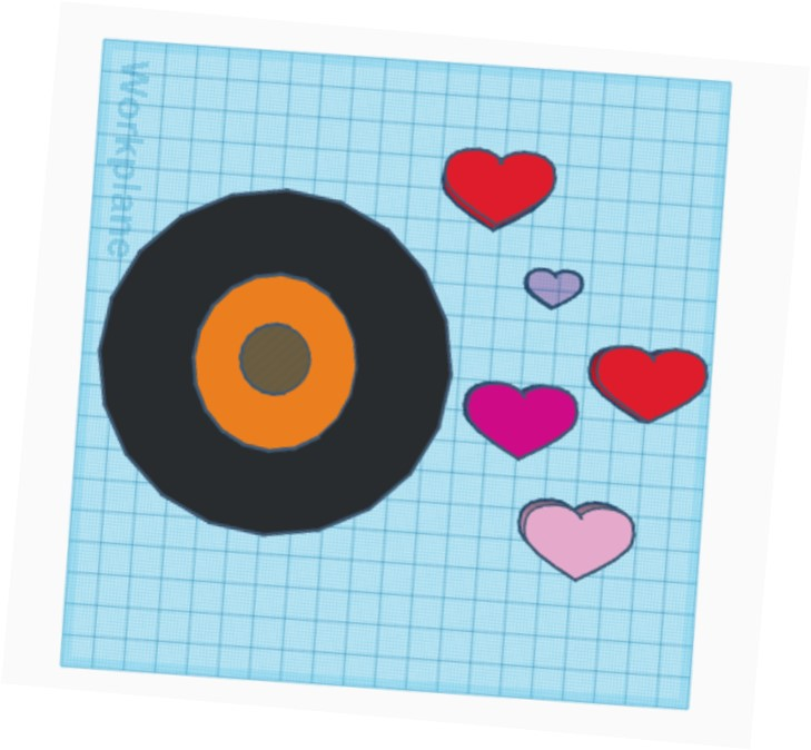 design of hearts and circles made using Tinkercad
