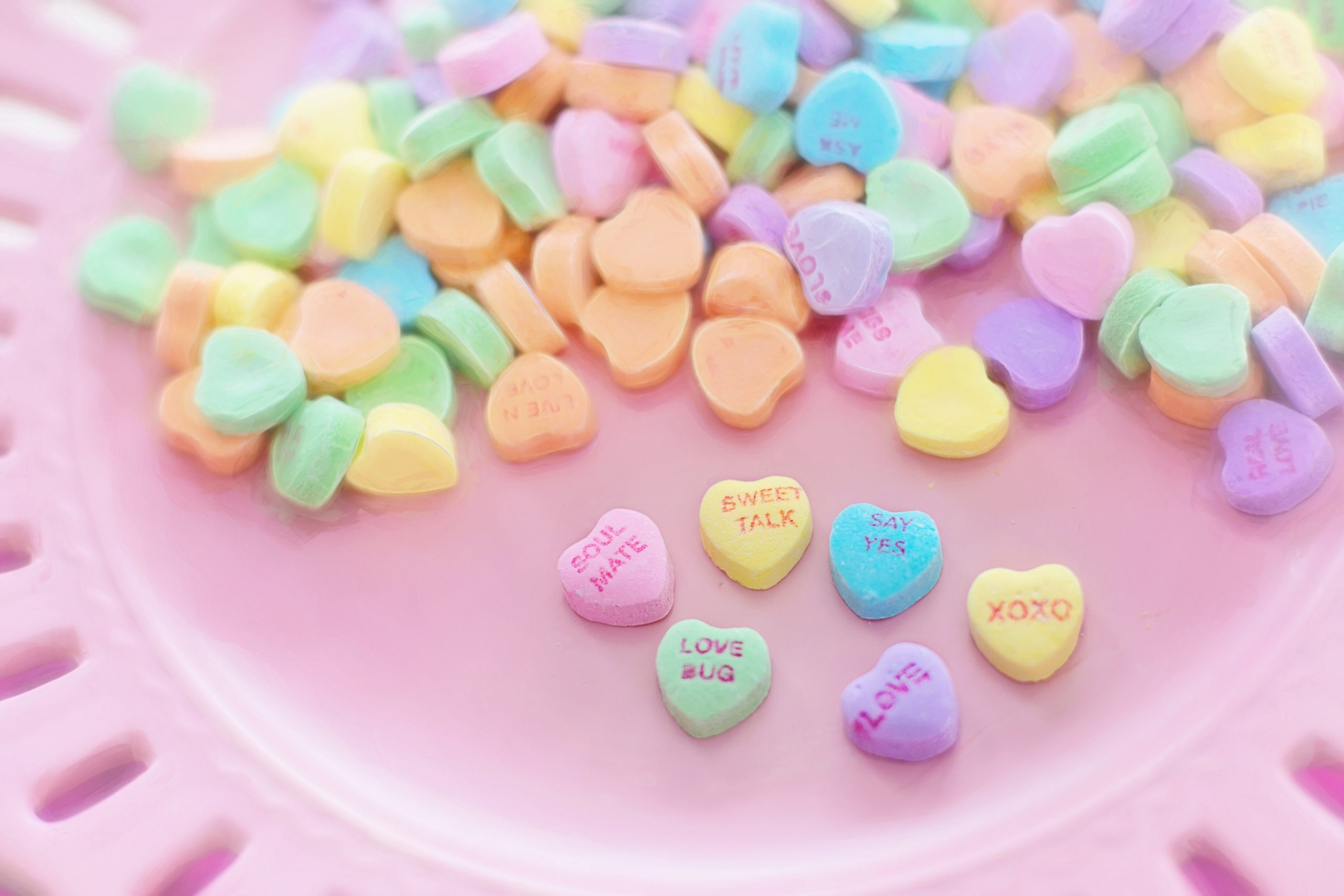 assortment of candy hearts
