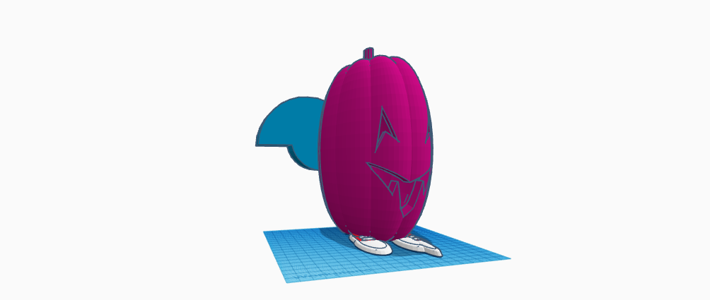 Bright pink slim jack-o-lantern with sneakers and blue wings
