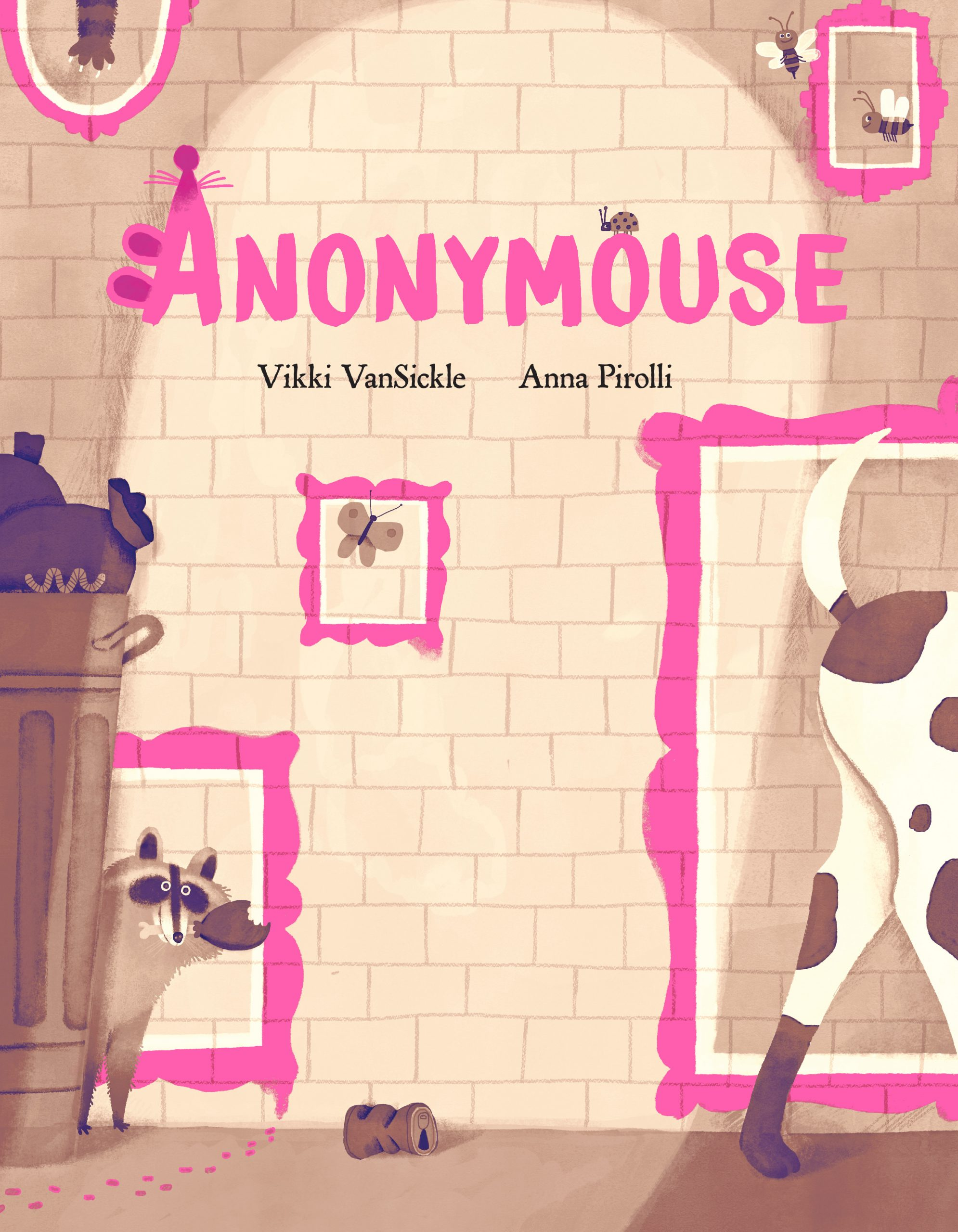 The cover of the picture book Anonymouse, which shows city animals looking confused in paintings of picture frames.