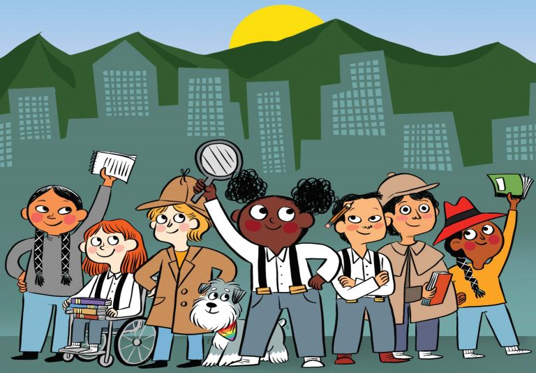 an illustrated, diverse group of kids posing holding books and magnifying glasses, dressed as detectives. a cityscape is in the background.