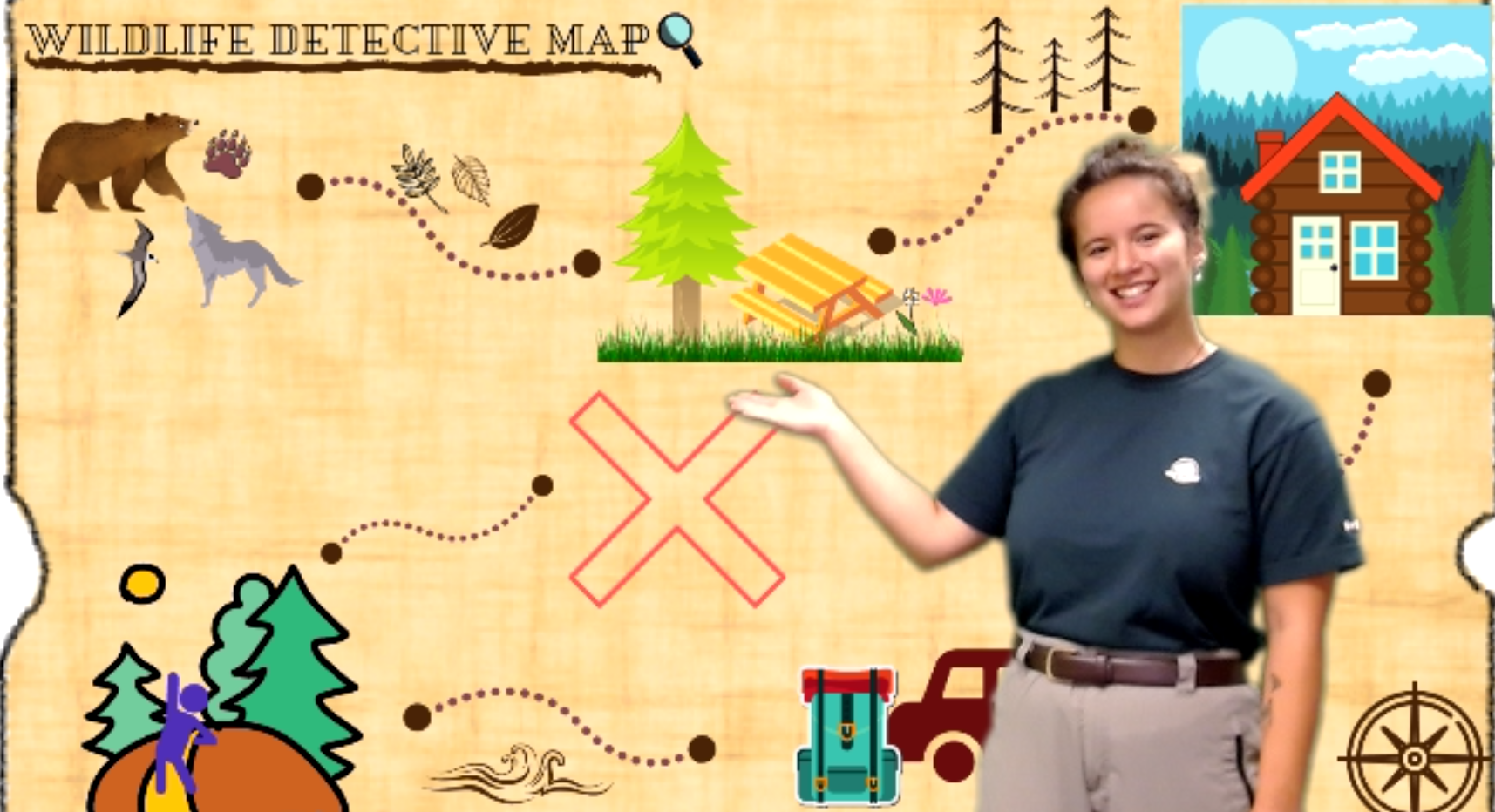 Park Ranger standing in front of a Wildlife Detective Map featuring various nature activities
