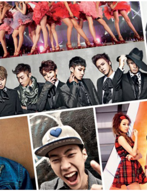 Photos of a number of K-Pop stars are arranged in a collage